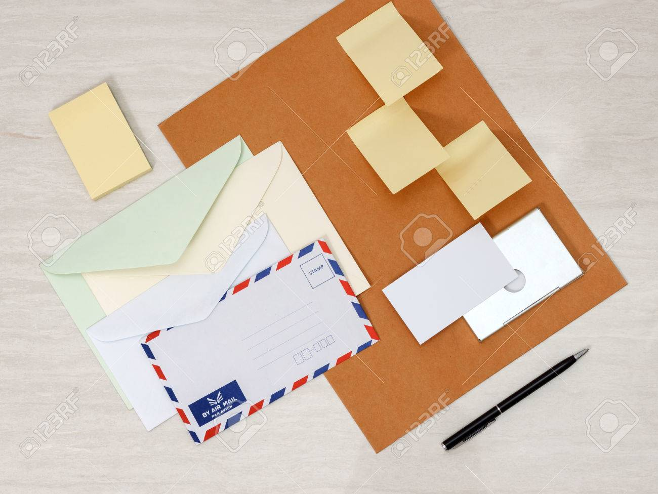 A Set Of Blank Envelopes Different Size, Sticky Notes, Business ...