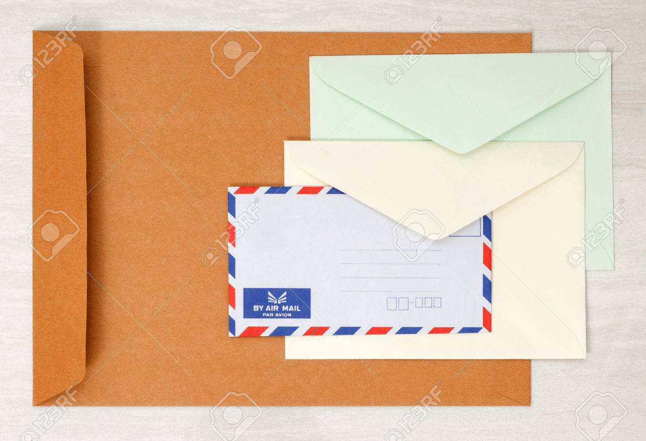 Colored card stock and envelopes - A Set Of Blank Envelopes Different Size And Color View 3 Stock Photo 36893578