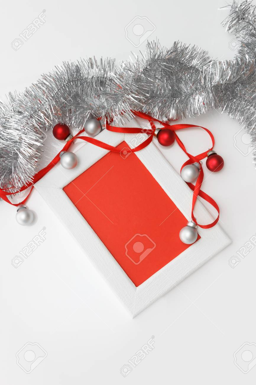 New Year And Christmas Greeting Card Template Made Of White Frame
