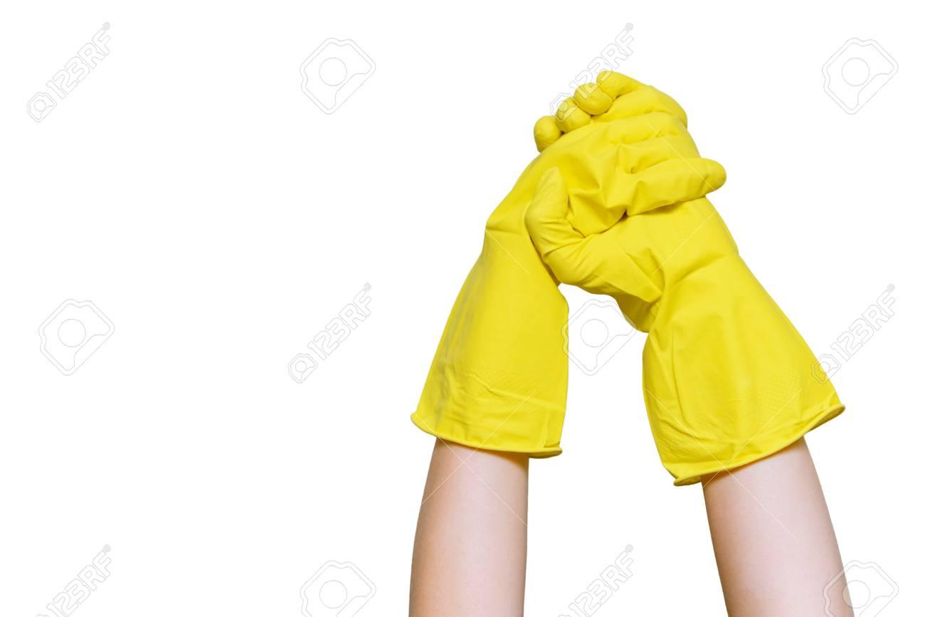 seleziona per il meglio buon servizio un'altra possibilità Cordialità nel concetto di pulizia. Mani nella pulizia dei guanti gialli.