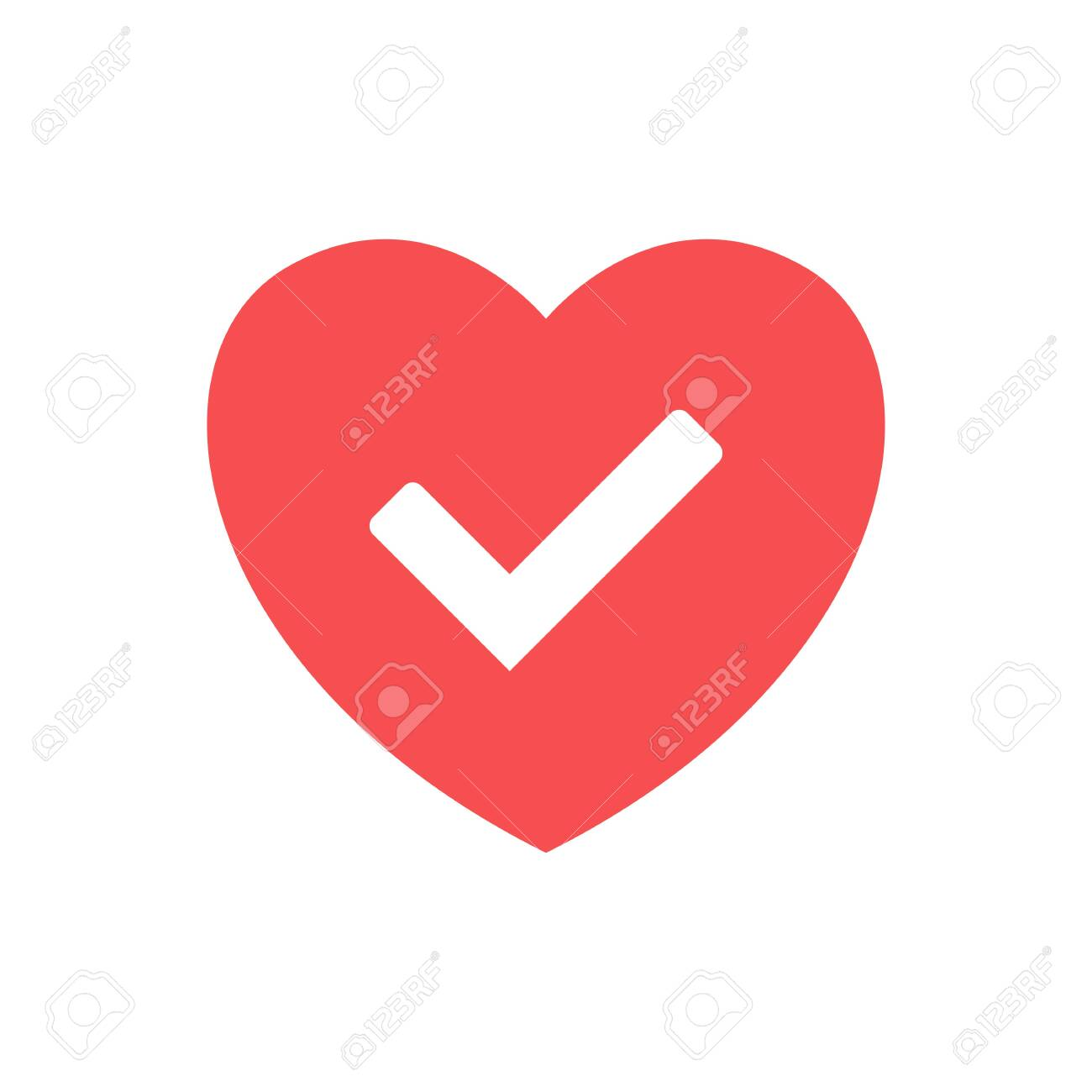 Red Heart Check Vector Icon Of Heart Vector On White Background Royalty Free Cliparts Vectors And Stock Illustration Image 122597324