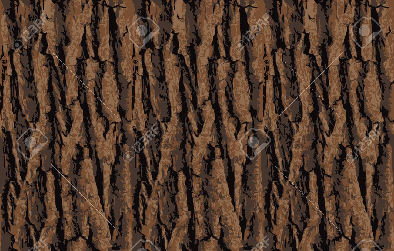 Seamless tree bark texture. Endless wooden background for web page fill or graphic design. Oak or maple vector pattern - 73857555