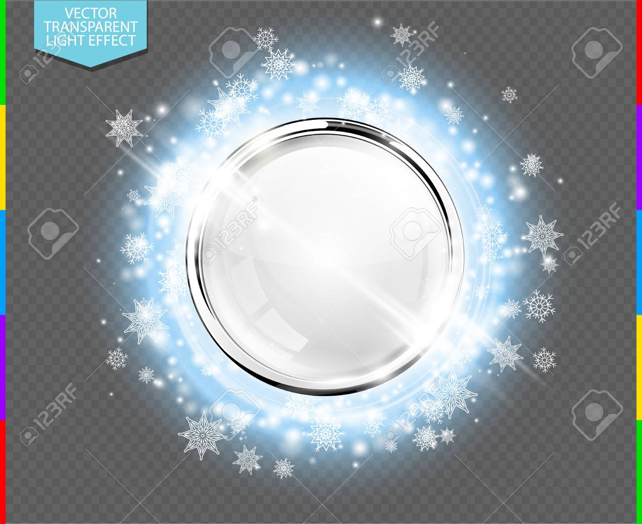 Anillo De Lujo Abstracto De Metal Cromado Con Bola De Cristal Blanco ...