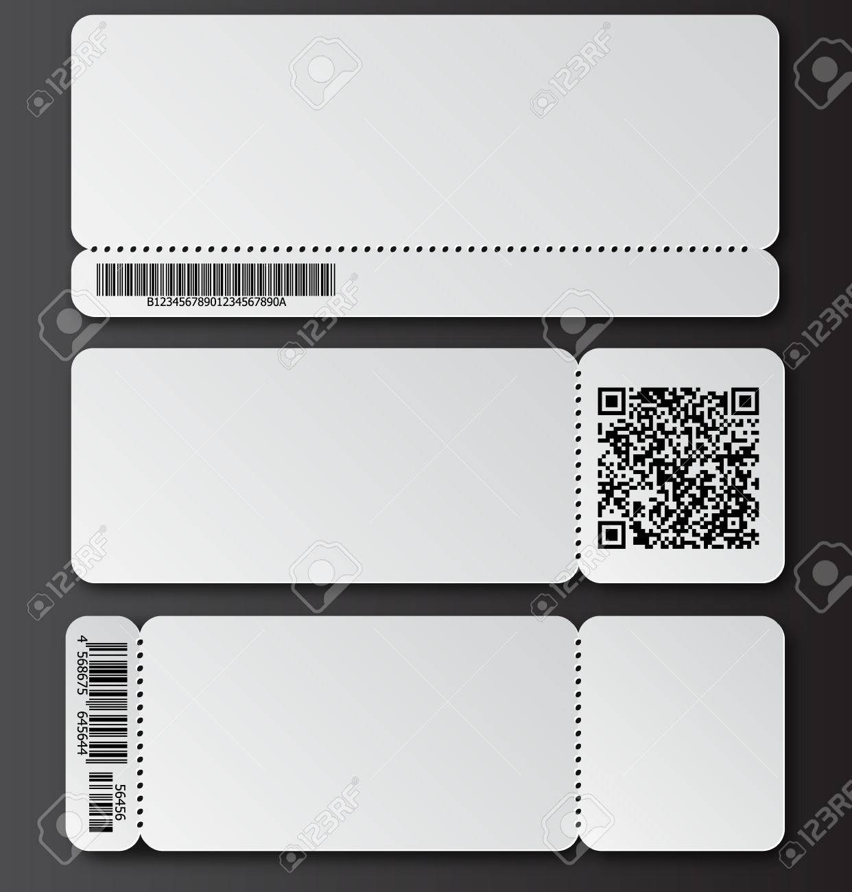 White Ticket Template With Tear Off Element Barcode And Qr Code
