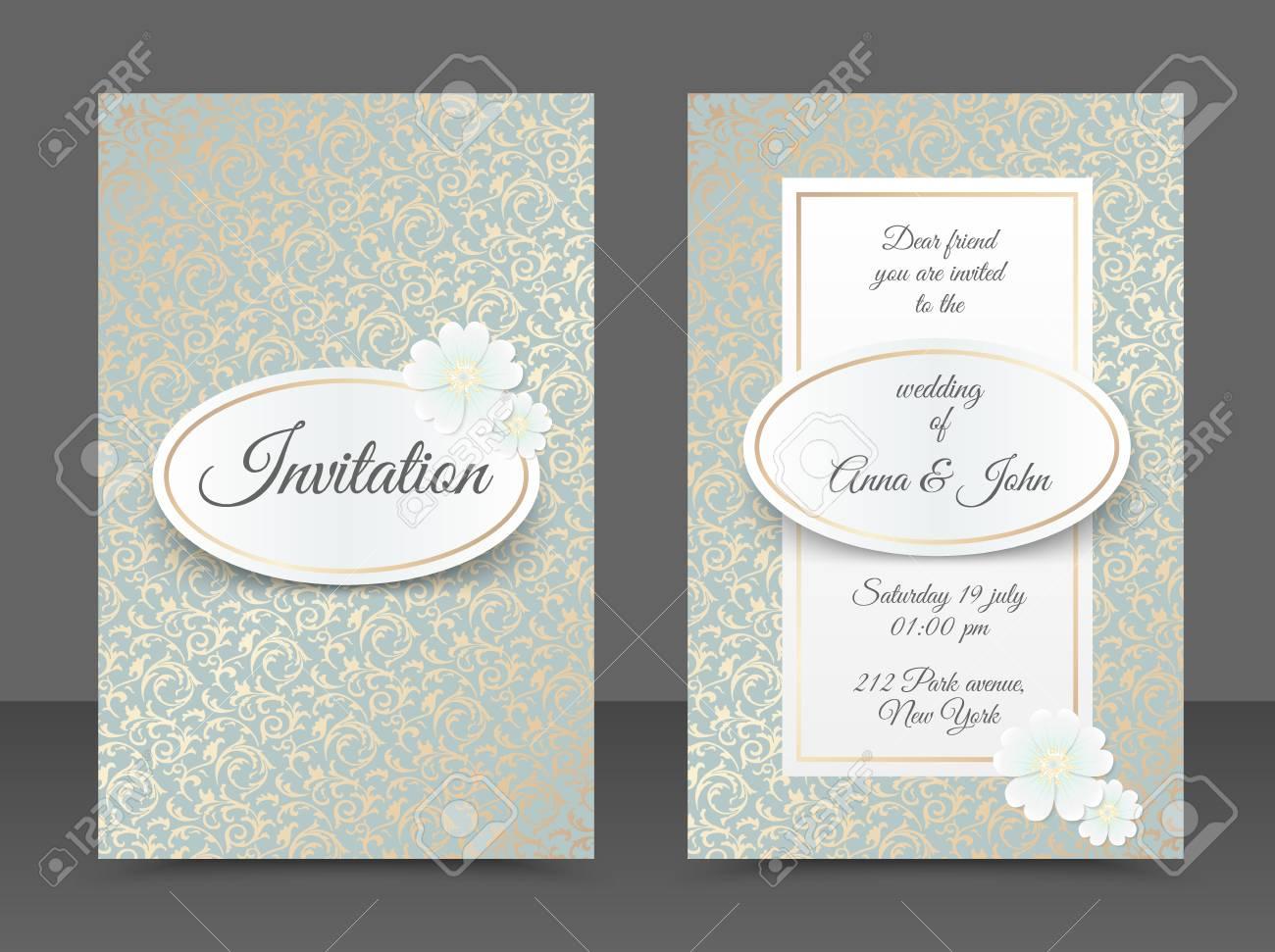 Vintage Wedding Invitation Templates Cover Design With Golden