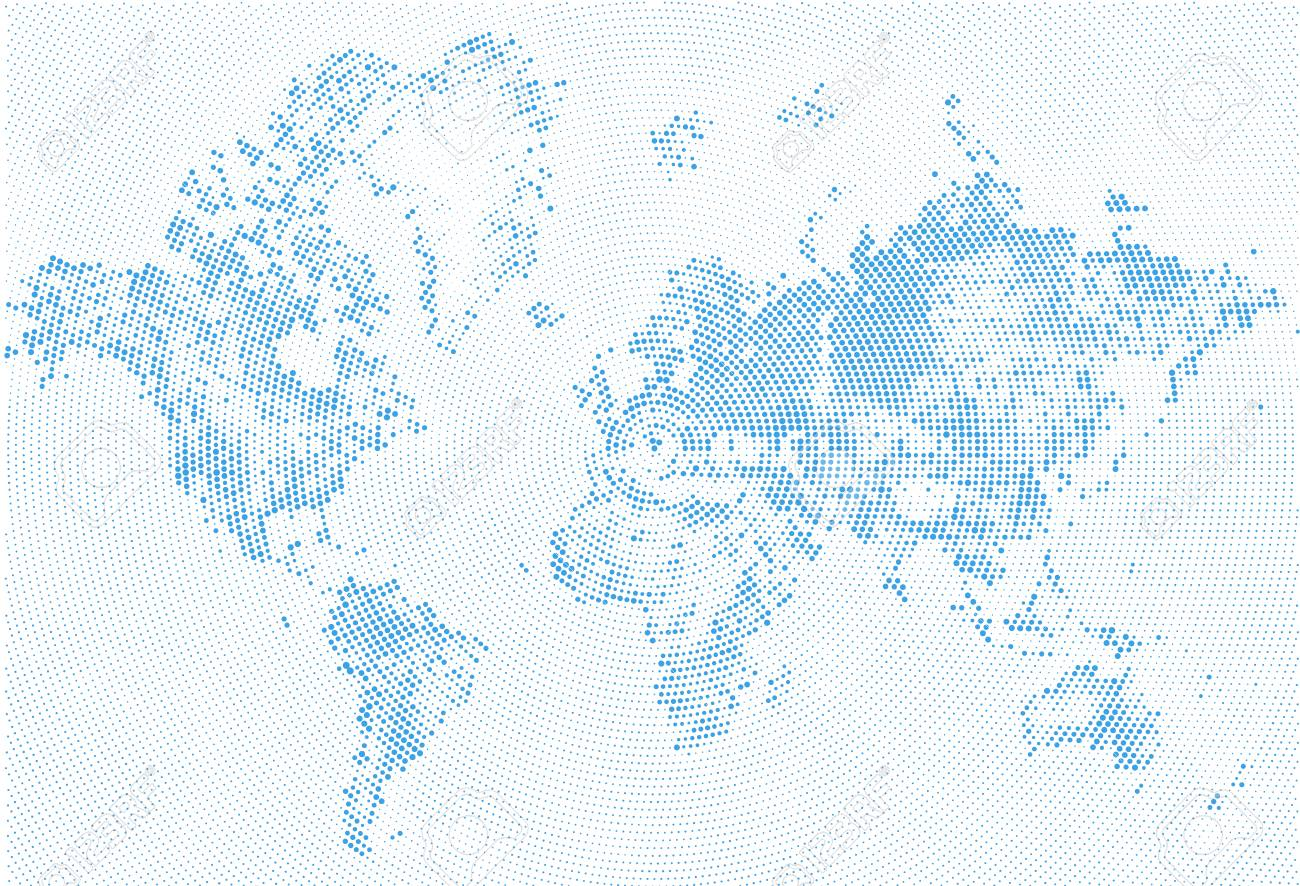 Abstract dotted map blue and white halftone grunge effect abstract dotted map blue and white halftone grunge effect illustration world map silhouettes continental gumiabroncs Images
