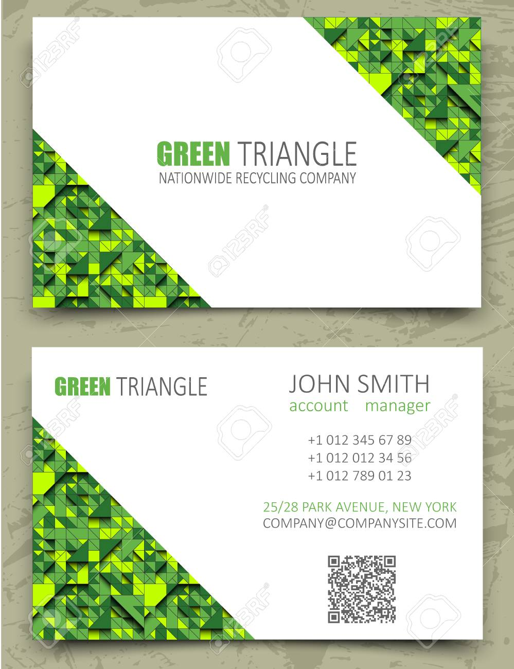 Green triangles modern business card design template white diagonal green triangles modern business card design template white diagonal space on pattern background volume reheart Images