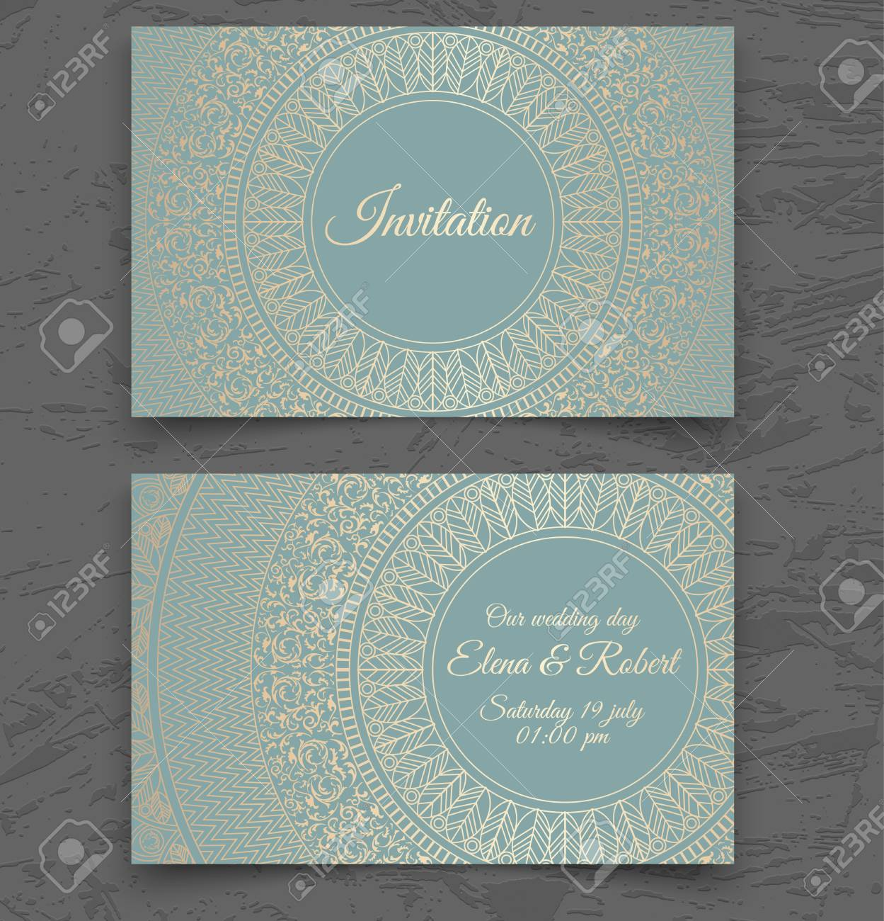 Vintage Wedding Invitation Or Business Card Templates. Cover ...