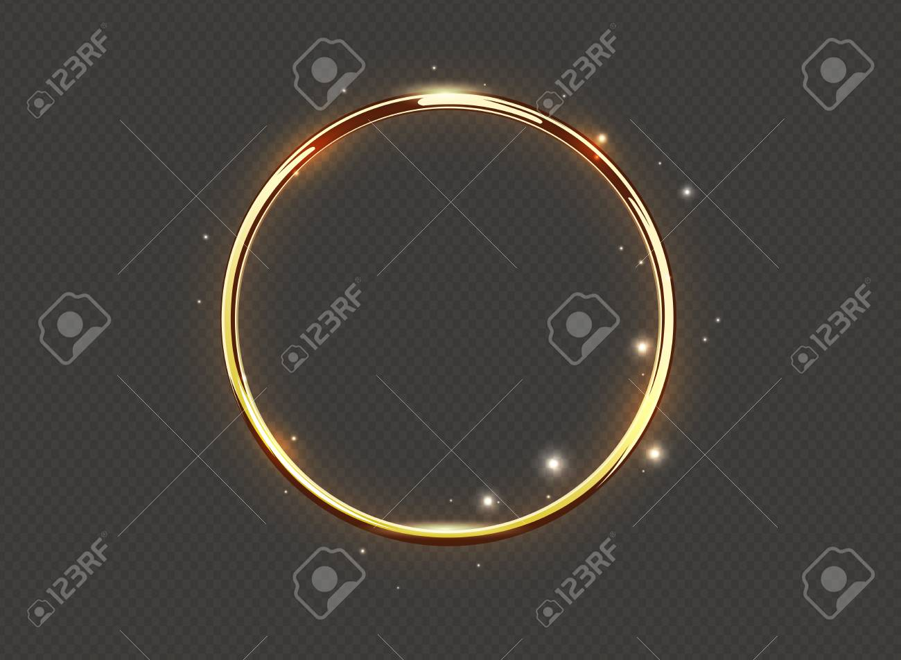 Abstract luxury golden glow ring on transparent background. Vector light circles spotlight and sparks light effect. Gold color round sparkling frame - 93755812