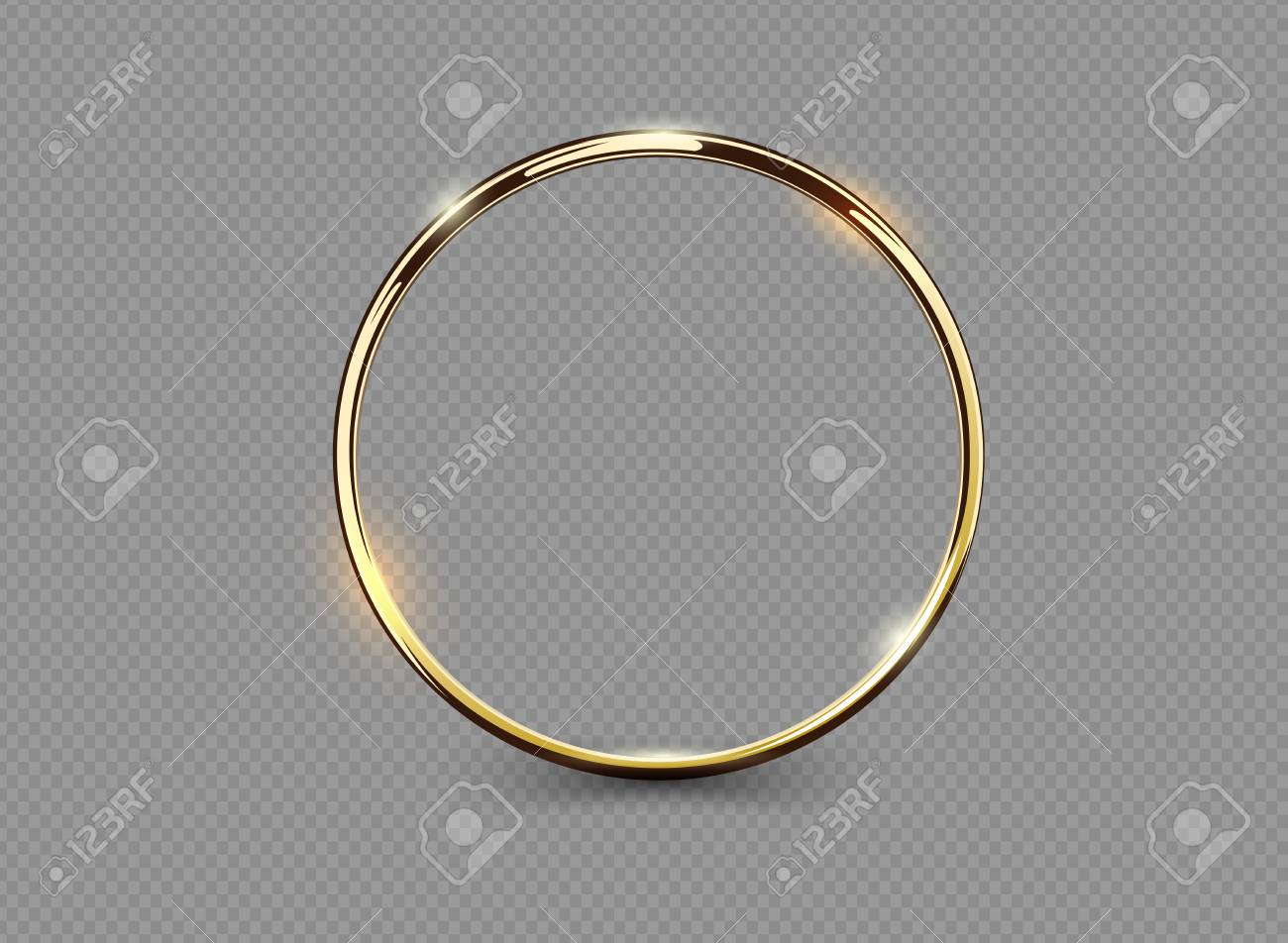 Abstract luxury golden ring on transparent background. Vector light circles spotlight light effect. Gold color round frame - 93865578