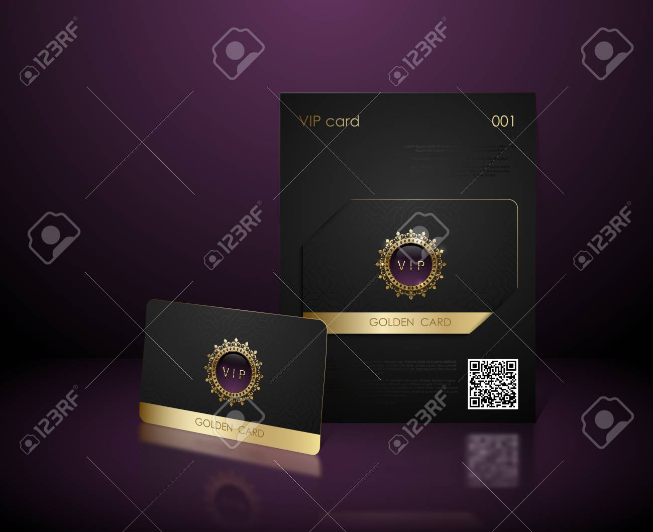 Vector black vip card presentation with golden frame  VIP membership