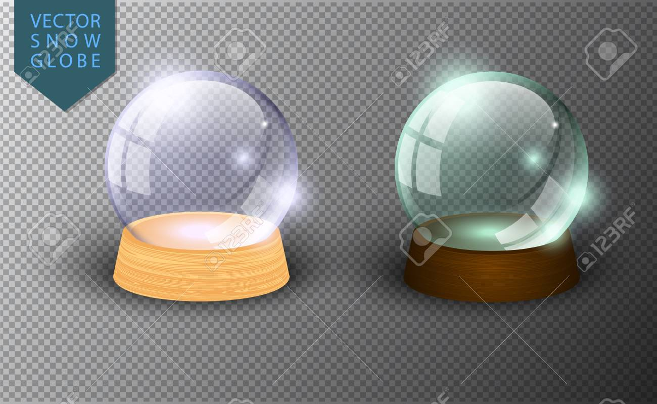 Vector snow globe empty template isolated on transparent background. Christmas magic ball. Glass ball dome, wooden stand. Realistic traditional winter holiday crystal. Xmas toy sphere - 127057626