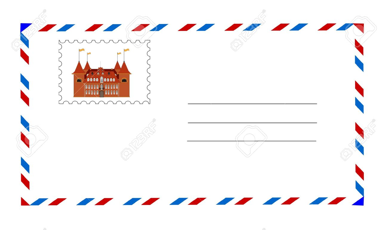 vector white envelope with postage stamp vector