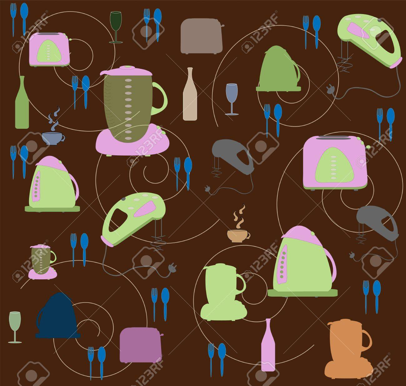 Seamless wallpaper with utensils and kitchen tackle vector Stock Vector - 11674221