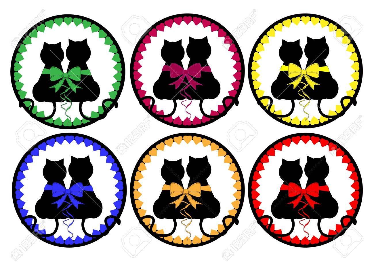 Cats love button vector Stock Vector - 11937143