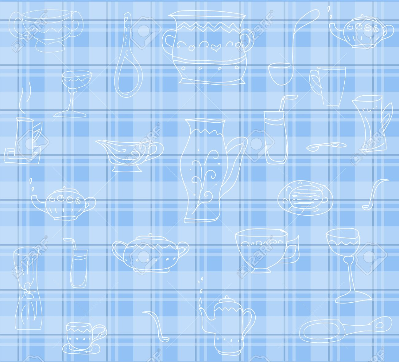 Kitchen Utensils Background cute blue background with kitchen utensils vector royalty free