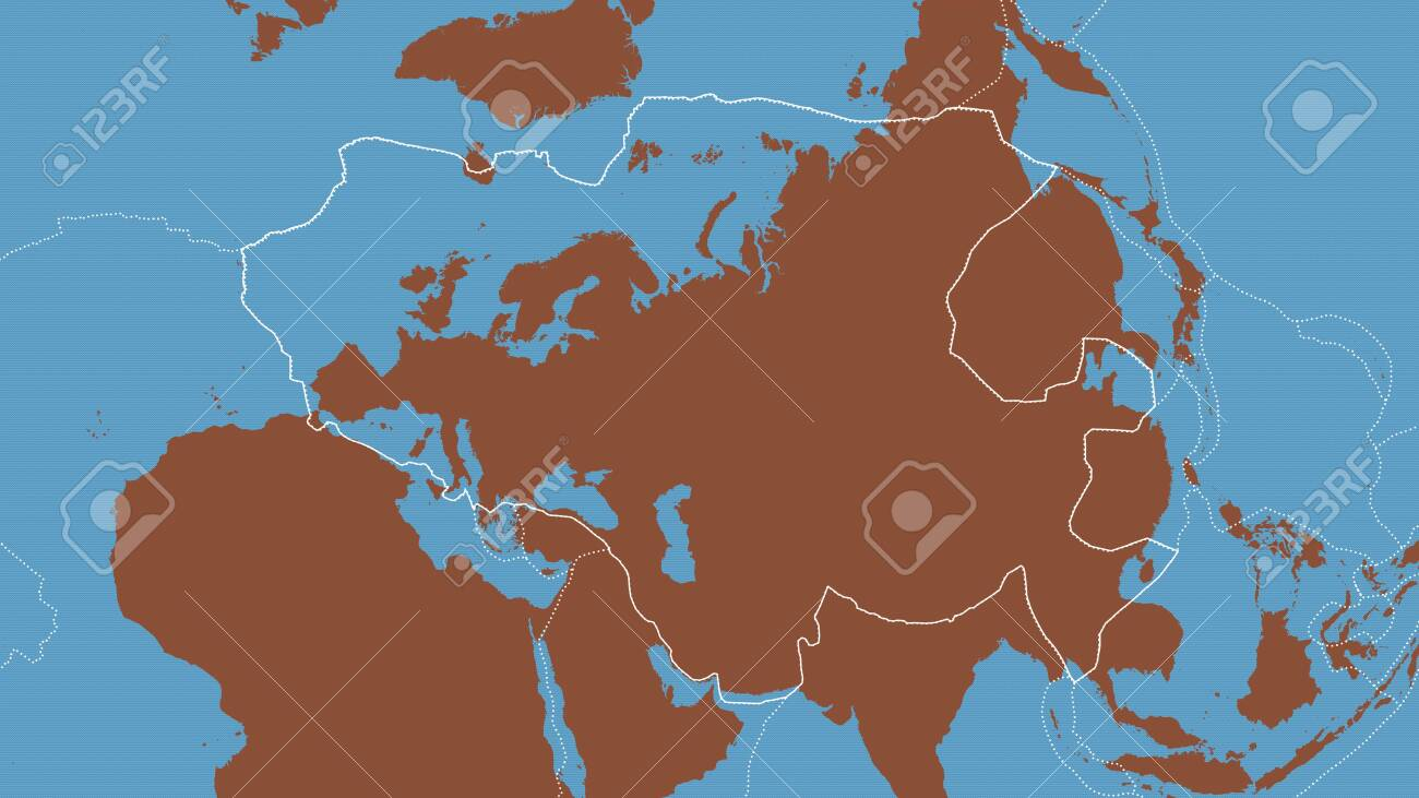 Outline Of The Eurasian Tectonic Plate With The Borders Of Surrounding Stock Photo Picture And Royalty Free Image Image 152825079