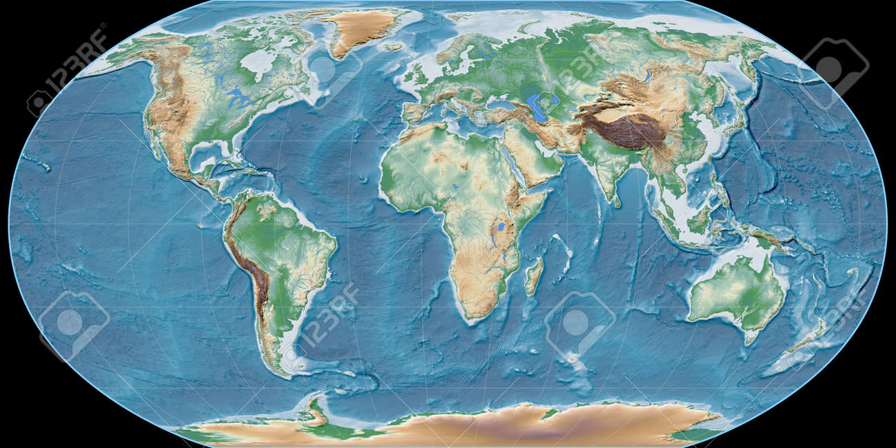 World map in the Robinson projection centered on 11 East longitude. Colored shader, elevation map - raw composite of raster with graticule. 3D illustration - 152734100
