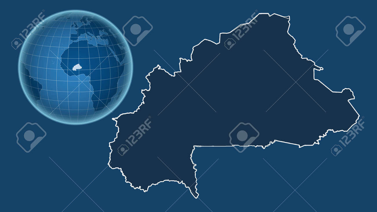 Burkina Faso. Globe with the shape of the country against zoomed map with its outline isolated on the blue background. shapes only - land/ocean mask - 152760234