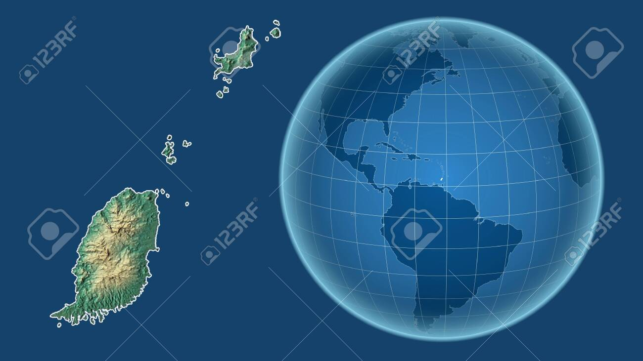 Picture of: Grenada Globe With The Shape Of The Country Against Zoomed Map Stock Photo Picture And Royalty Free Image Image 152778741