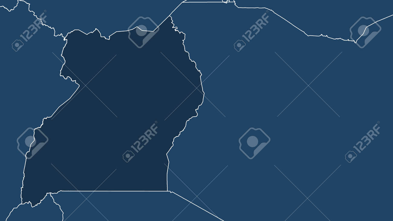 Uganda. Close-up perspective of the country - no outline. shapes only - land/ocean mask - 152851175