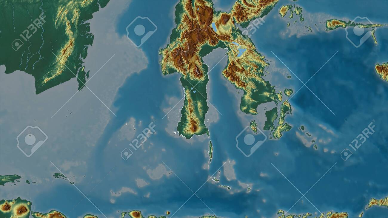 South Sulawesi, province of Indonesia. Colored relief with lakes and rivers. Shape outlined against its country area. 3D rendering - 153186698