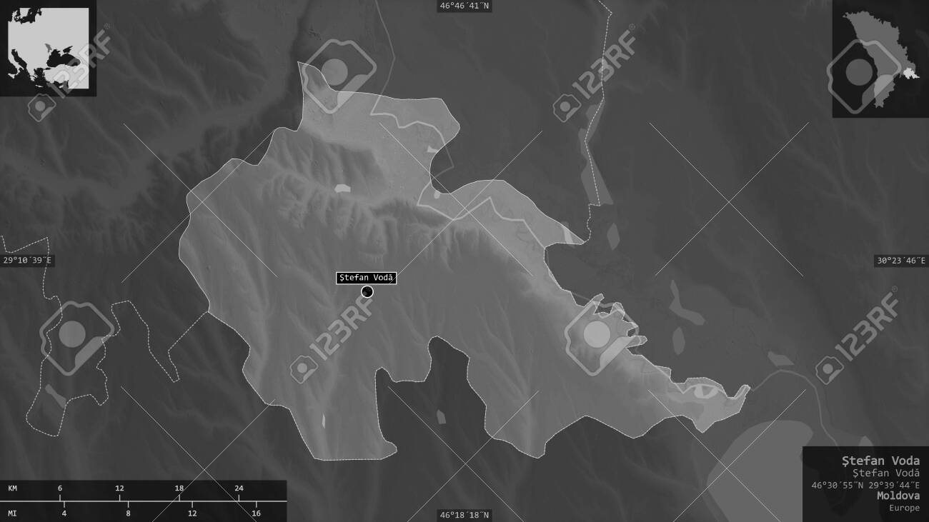 Åžtefan Voda, district of Moldova. Grayscaled map with lakes and rivers. Shape presented against its country area with informative overlays. 3D rendering - 153320048