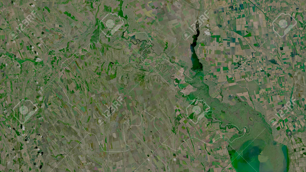 Åžtefan Voda, district of Moldova. Satellite imagery. Shape outlined against its country area. 3D rendering - 153320065