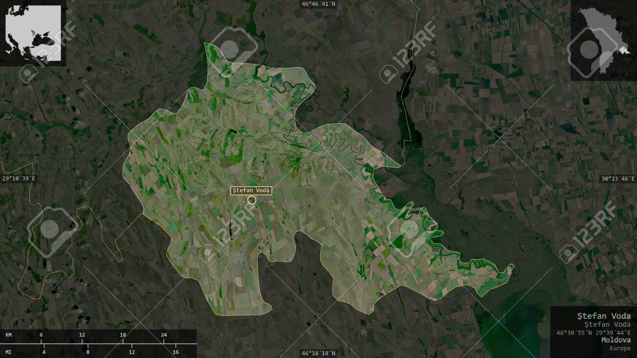 Åžtefan Voda, district of Moldova. Satellite imagery. Shape presented against its country area with informative overlays. 3D rendering - 153339842