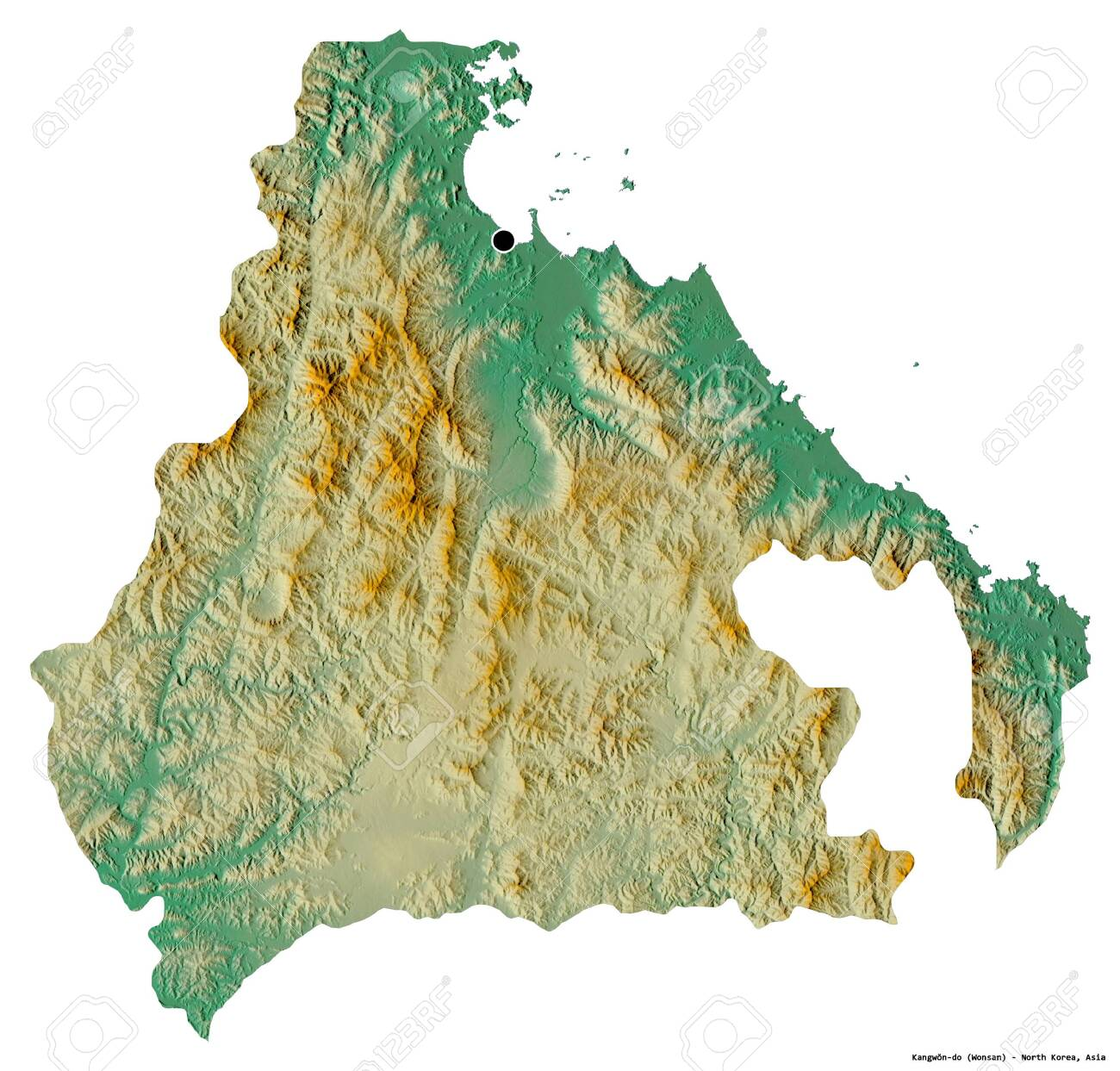 Shape of Kangwŏn-do, province of North Korea, with its capital isolated on white background. Topographic relief map. 3D rendering - 156387549