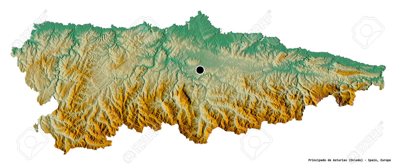 Shape of Principado de Asturias, autonomous community of Spain, with its capital isolated on white background. Topographic relief map. 3D rendering - 153729618