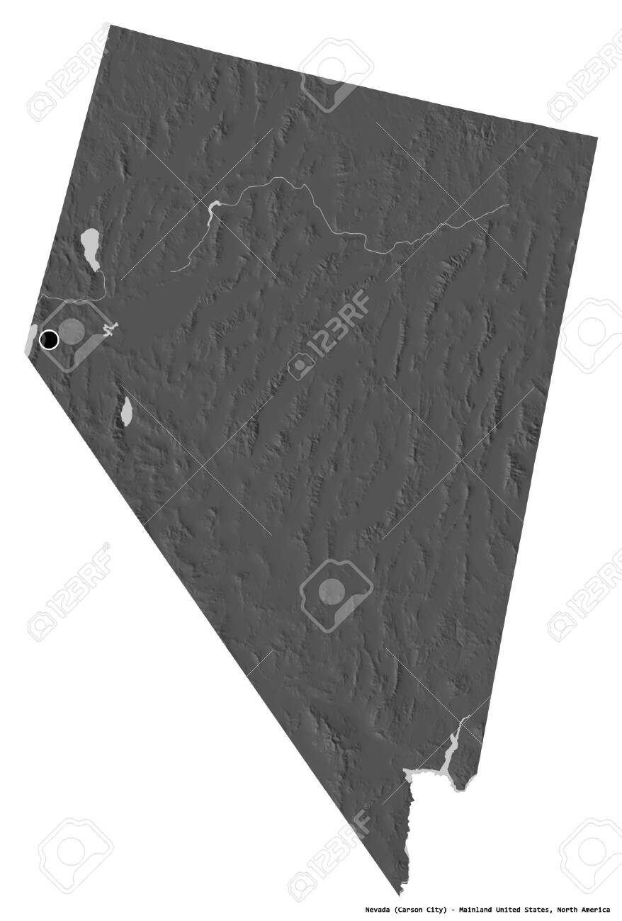Shape of Nevada, state of Mainland United States, with its capital isolated on white background. Bilevel elevation map. 3D rendering - 154479446