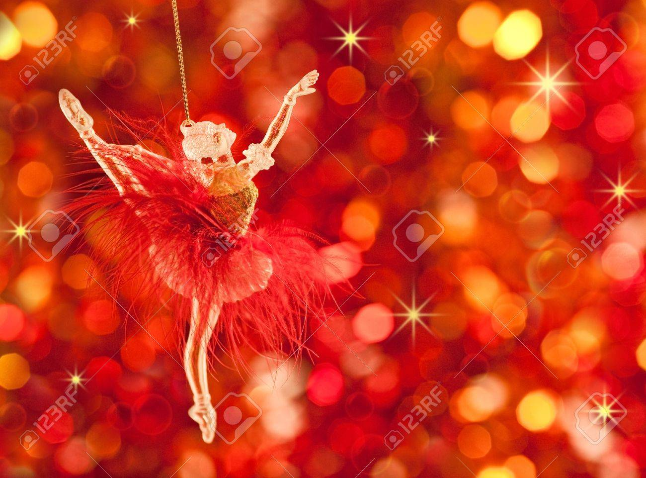 Christmas tree decoration on lights red background Stock Photo - 10264359