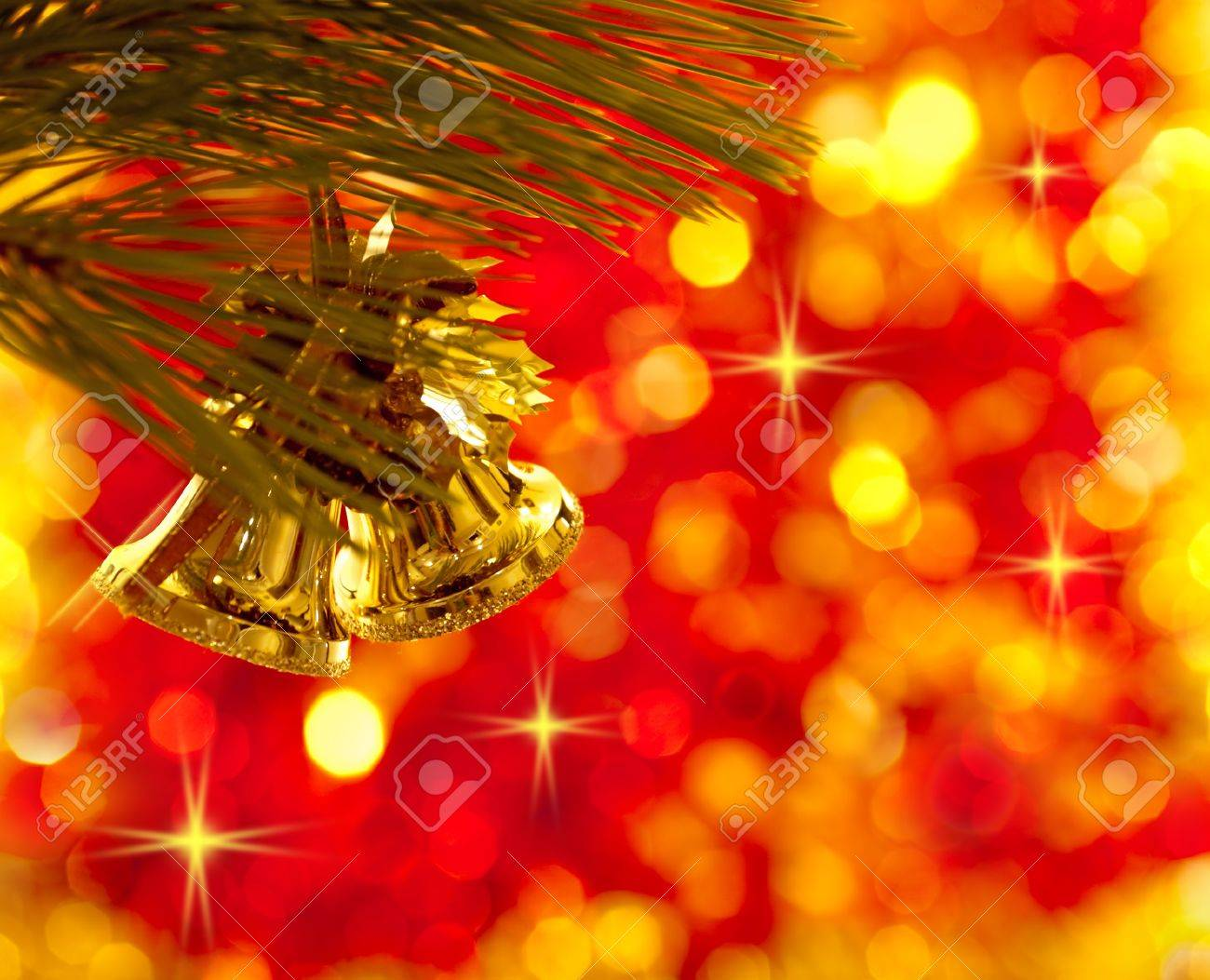 Gold Christmas Tree Decorations On Lights Red Background