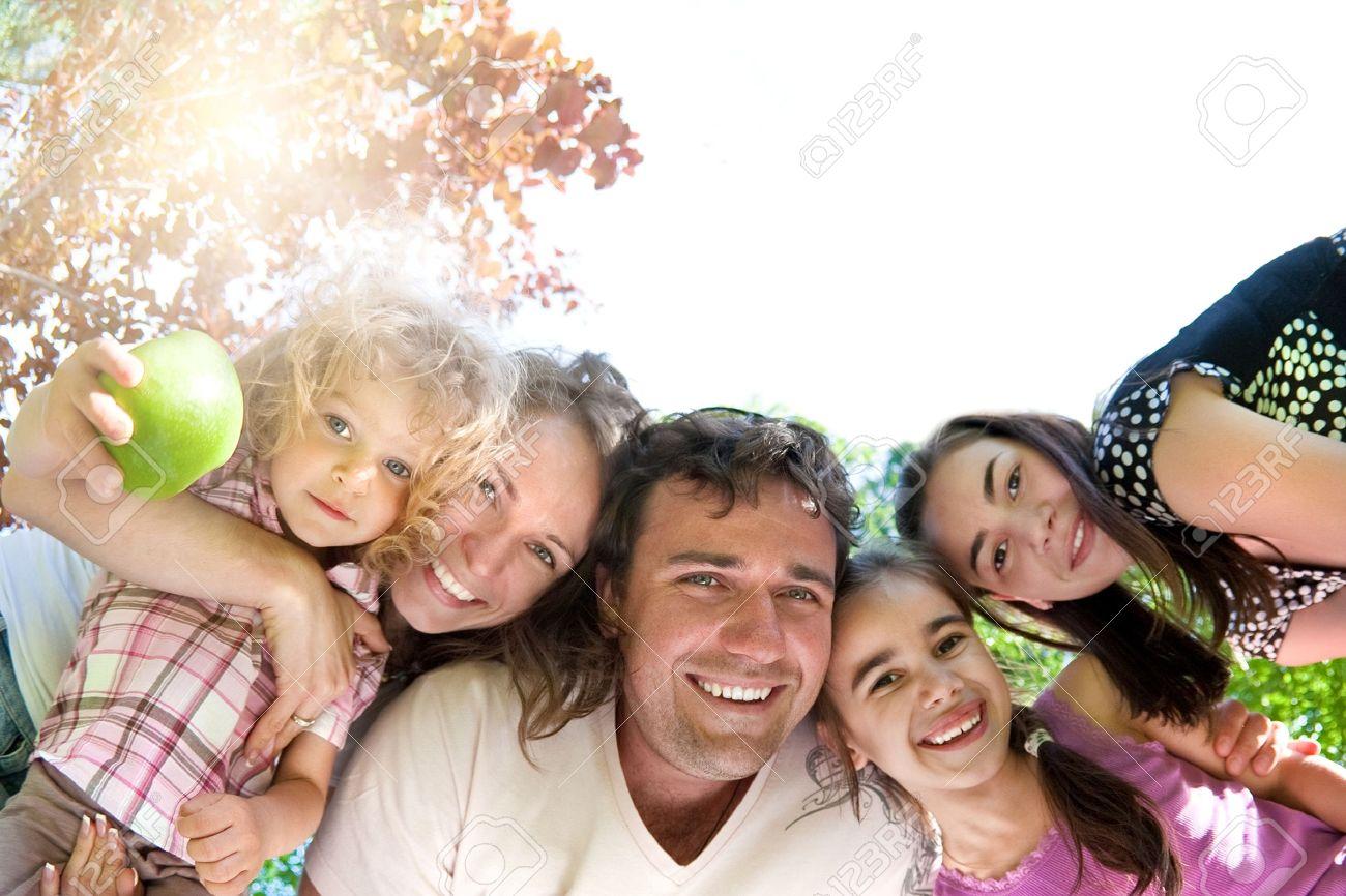 Happy family having fun in summer park Stock Photo - 11745937