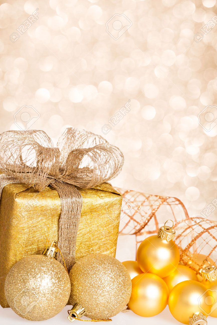 Christmas tree decorations and gift box against lights background Stock Photo - 15486595