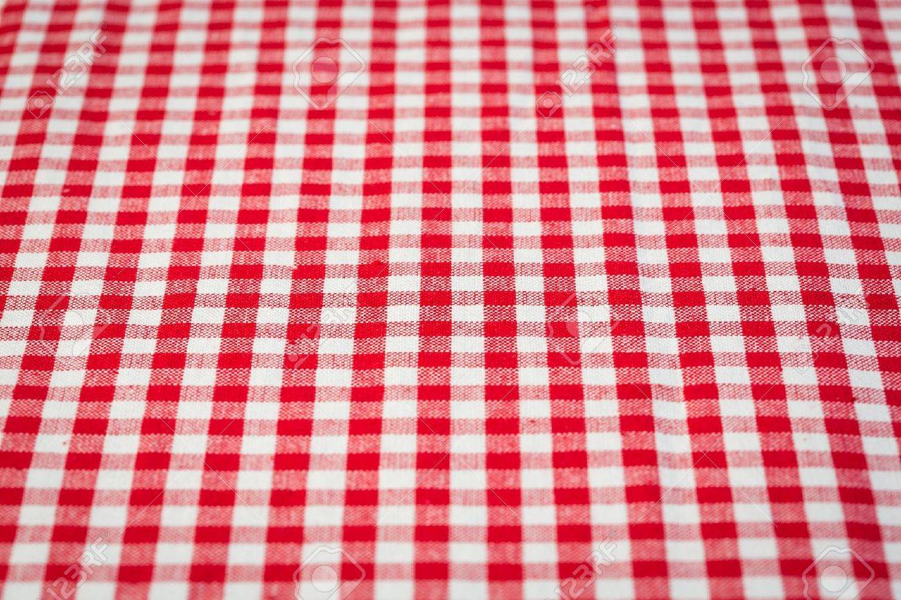 Red And White Gingham Tablecloth Background Stock Photo   18384300