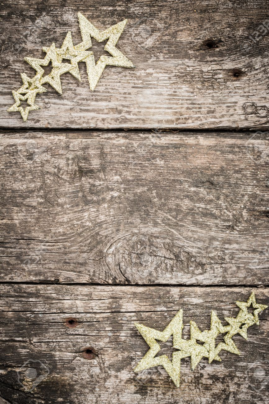 Gold Christbaumschmuck Auf Grunge Holz Hintergrund Winter Ferien
