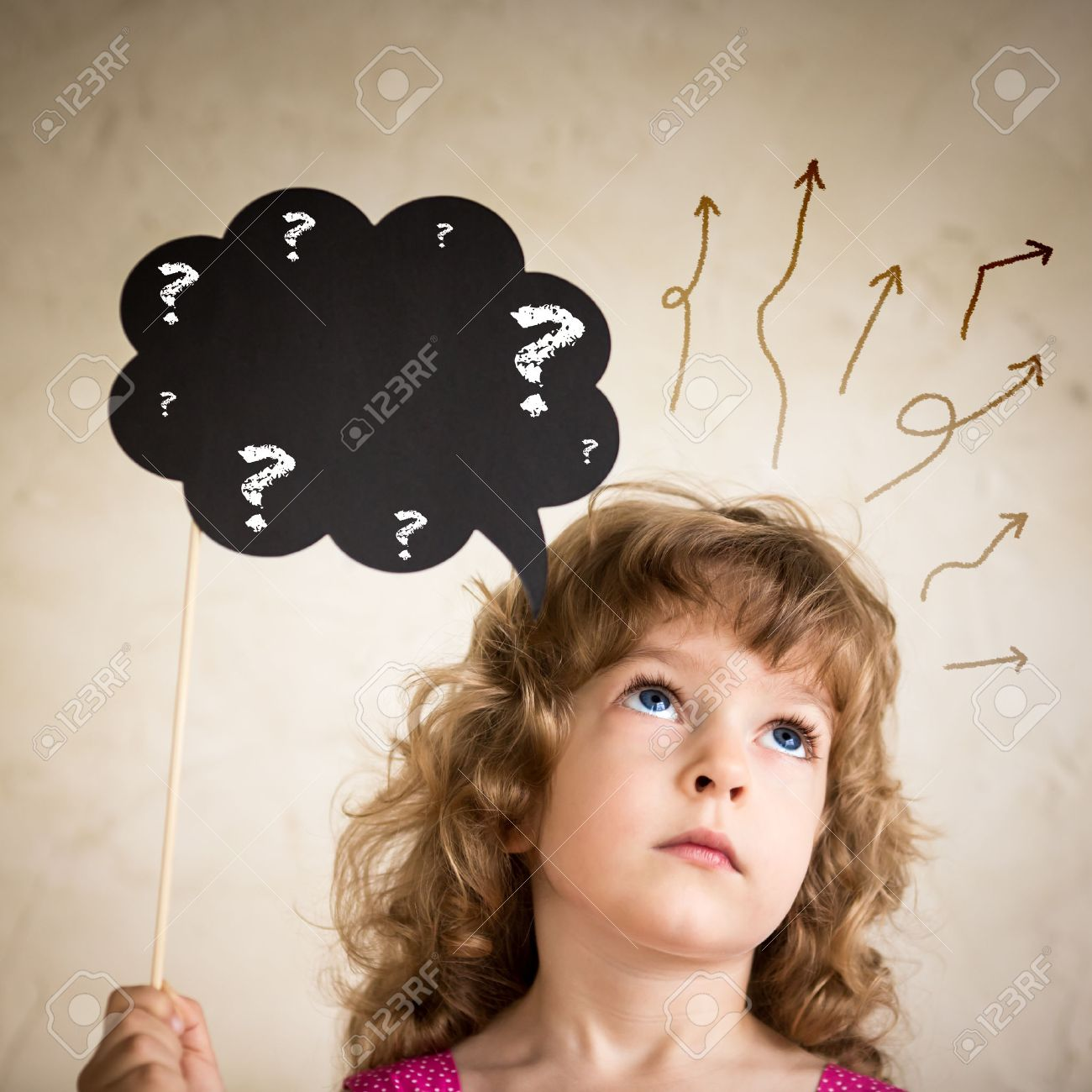 Confused child with paper cloud Stock Photo - 23100145