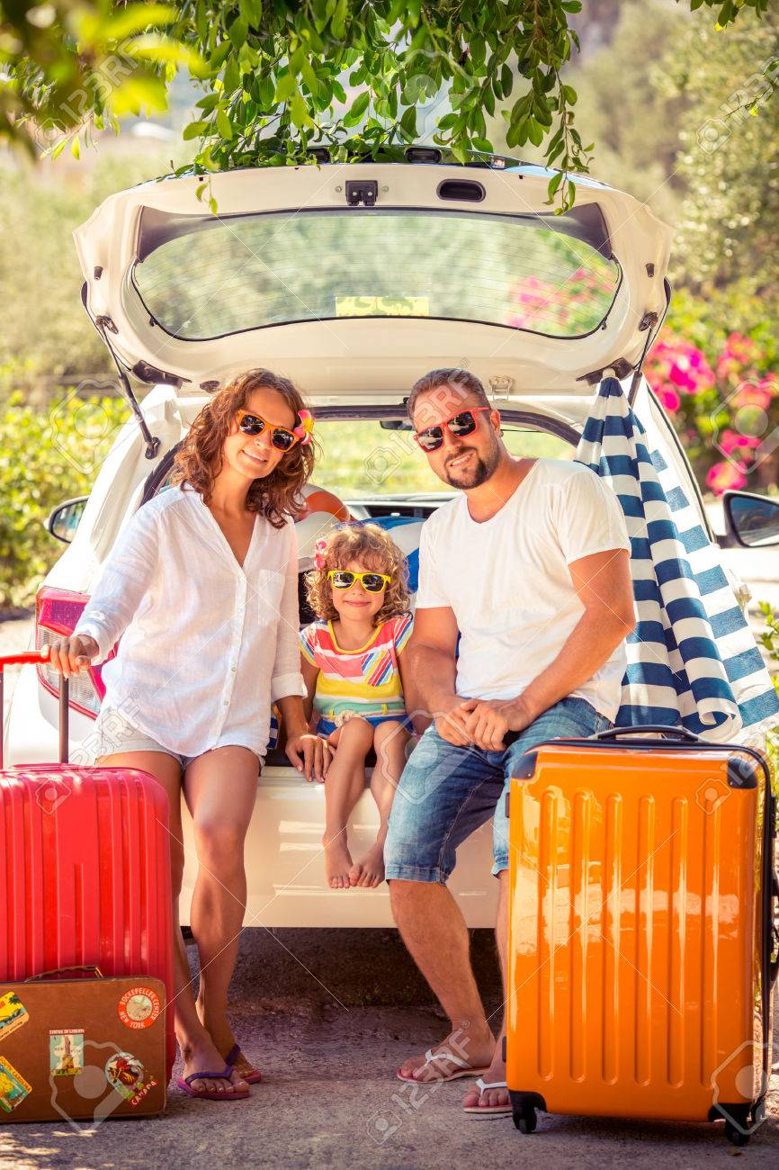 Family Going On Summer Vacation Car Travel Concept Stock Photo