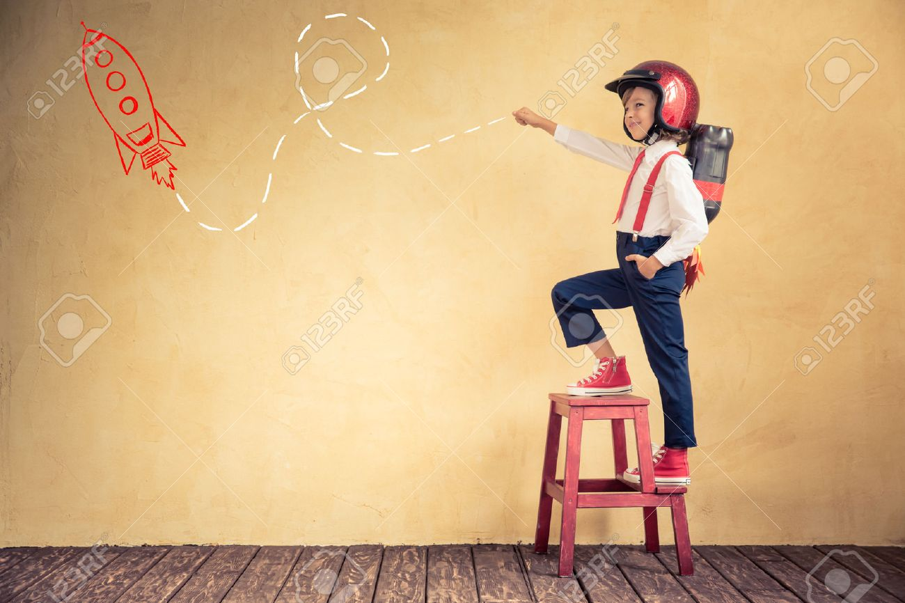 Portrait of young businessman with jet pack in office. Success, creative and innovation technology concept. Copy space for your text Stock Photo - 46594556