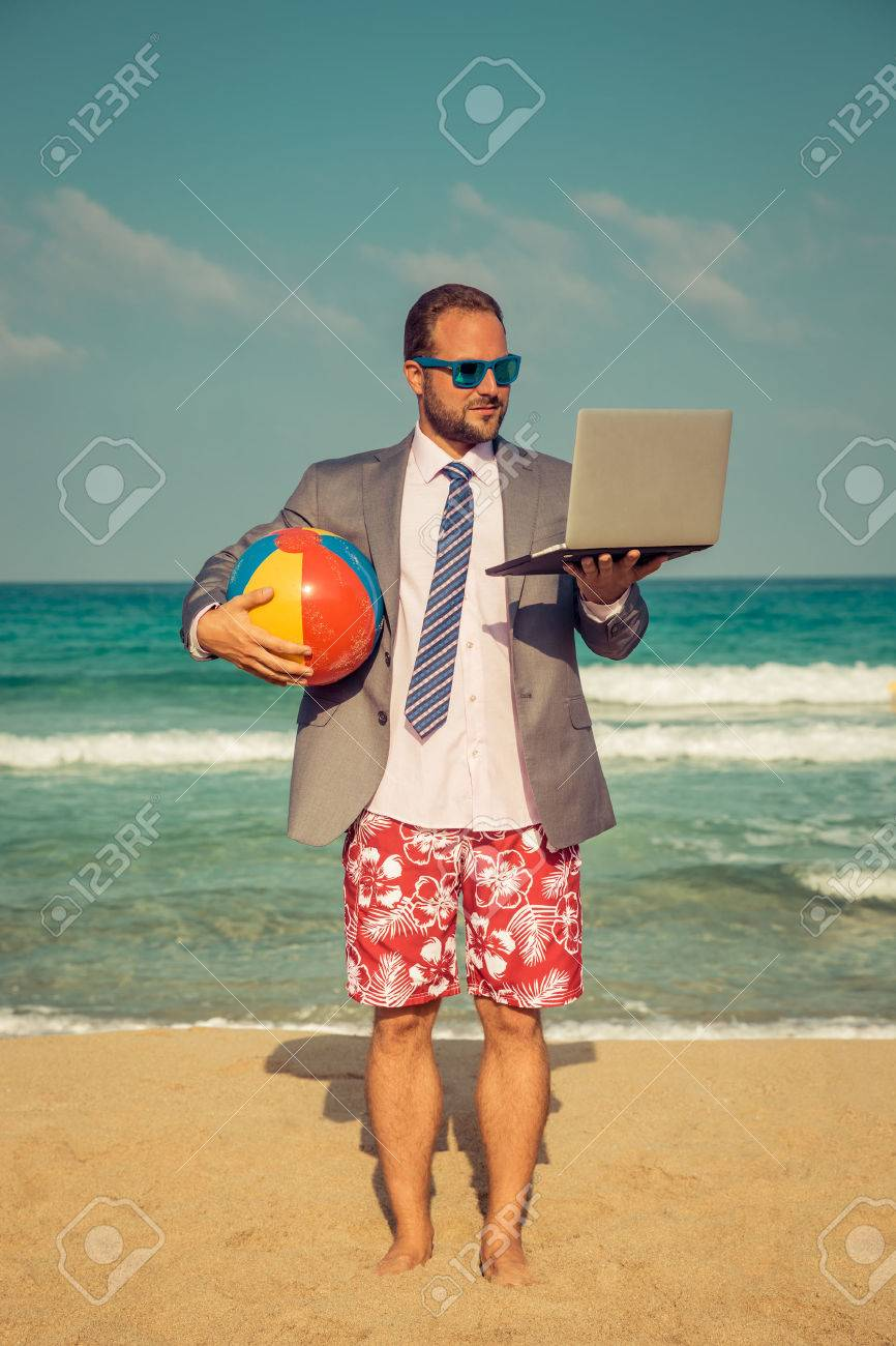 Portrait Of Funny Businessman On The Beach Man Having Fun By Stock Photo Picture And Royalty Free Image Image 54980179