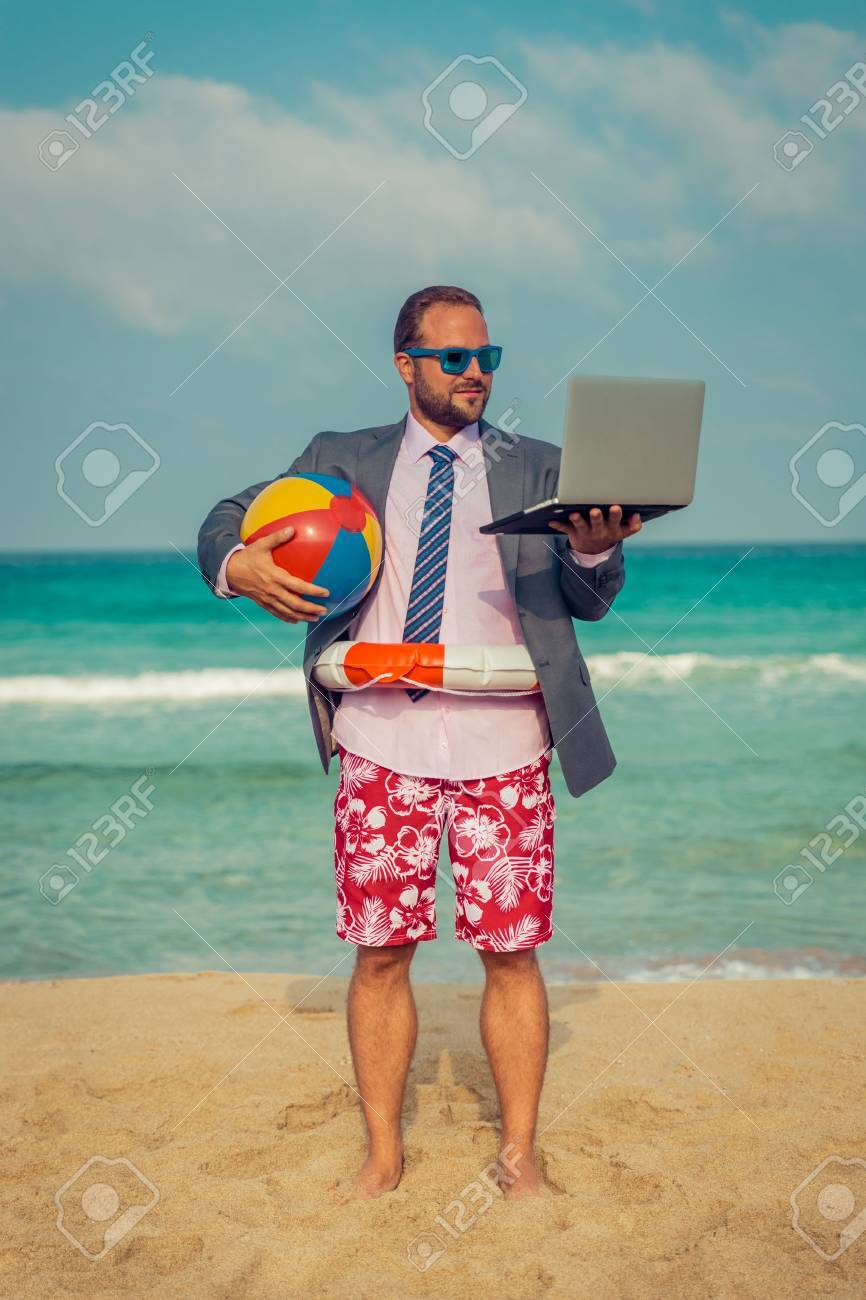 Portrait Of Funny Businessman On The Beach Man Having Fun By Stock Photo Picture And Royalty Free Image Image 56268769