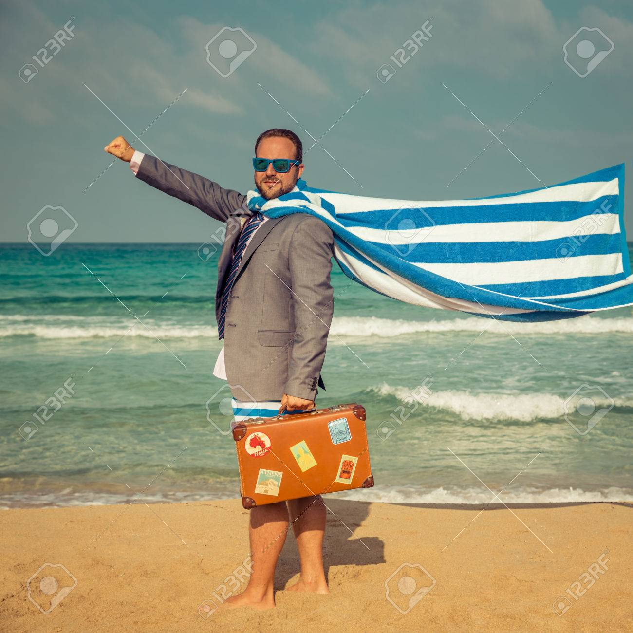 Portrait Of Funny Businessman On The Beach Man Having Fun By Stock Photo Picture And Royalty Free Image Image 56268773