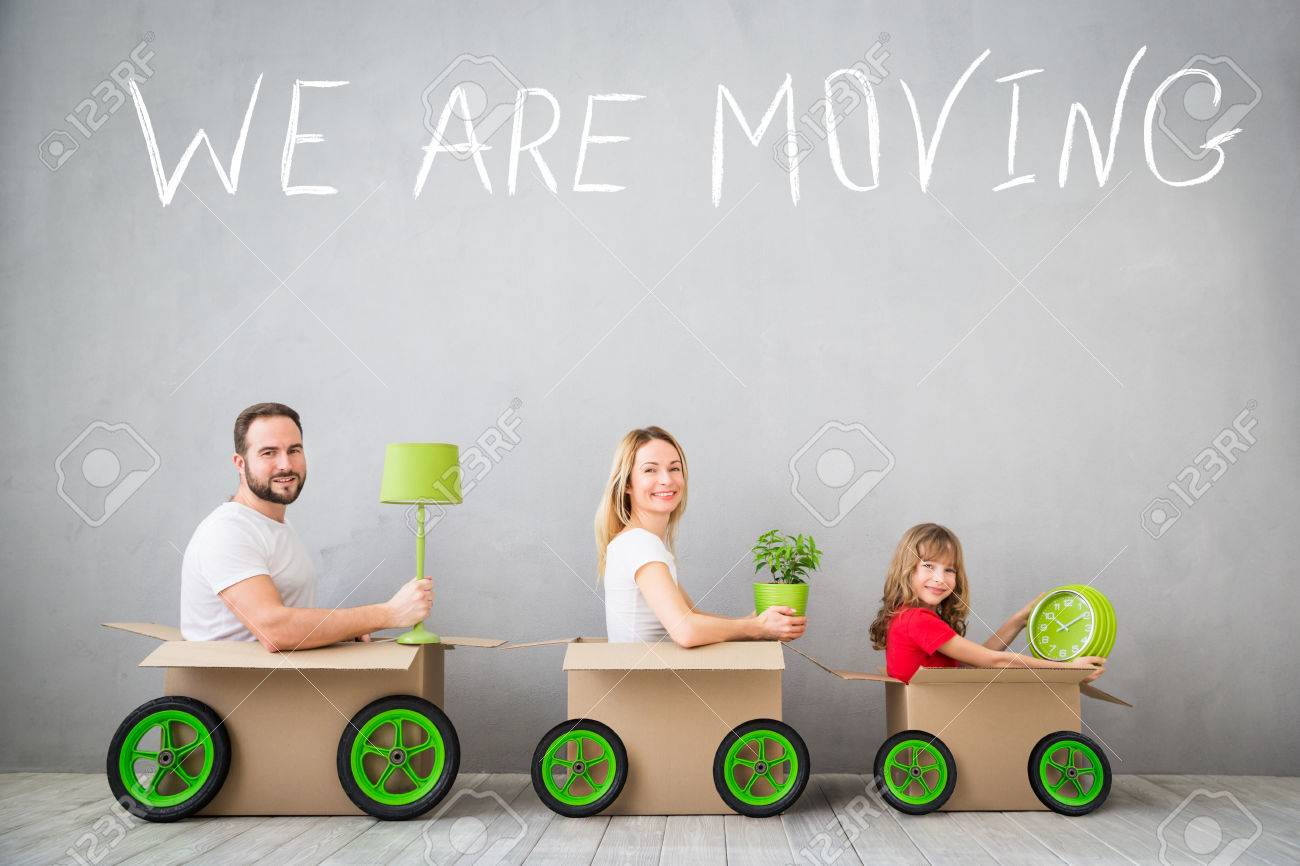 Happy family playing into new home. Father, mother and child having fun together. Moving house day and express delivery concept - 73426458