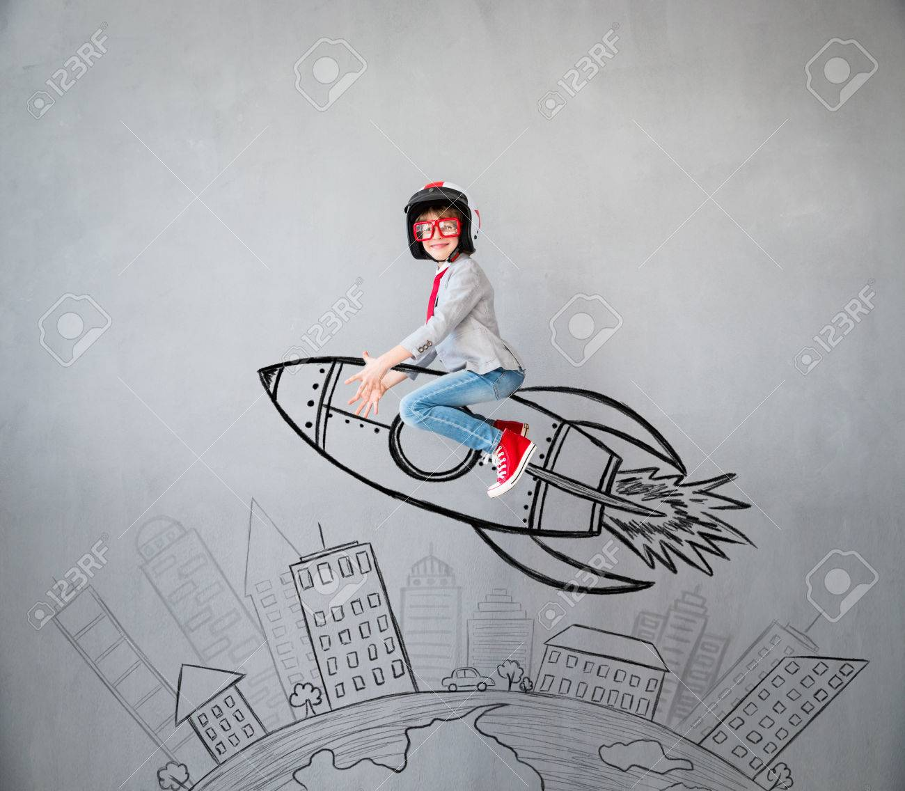 Portrait of young child pretend to be businessman. Kid playing at home. Success, idea, and creative concept. Copy space for your text - 83655775