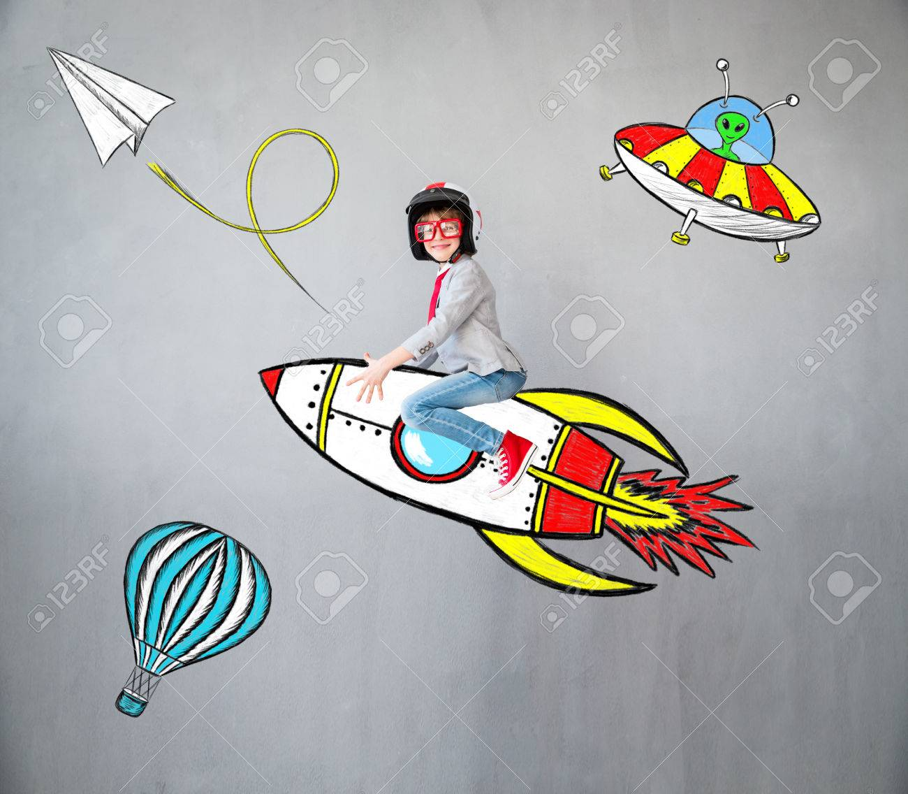 Portrait of young child pretend to be businessman. Kid playing at home. Success, idea, and creative concept. Copy space for your text - 83655736
