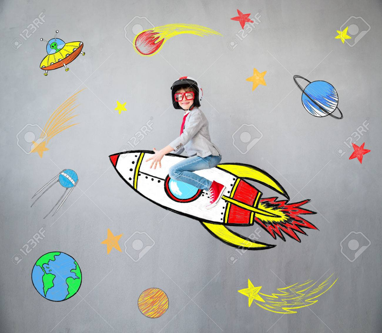 Portrait of young child pretend to be businessman. Kid playing at home. Success, idea, and creative concept. Copy space for your text - 84202596