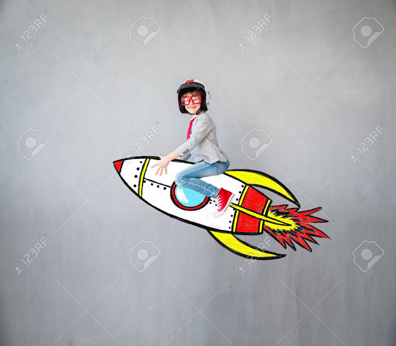 Portrait of young child pretend to be businessman. Kid playing at home. Imagination, idea and creative concept. Copy space for your text - 84790572