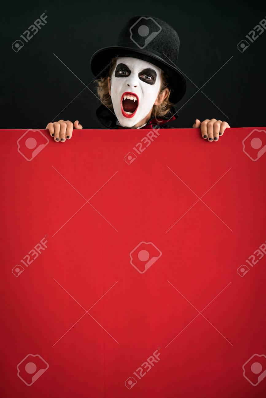 Funny Kids Halloween Costumes.Funny Child Dressed Halloween Costume Kid Painted Terrible Vampire